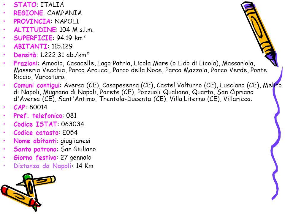 STATO: ITALIA REGIONE: CAMPANIA PROVINCIA: NAPOLI ALTITUDINE: 104 M s.l.m. SUPERFICIE: 94.19 km² ABITANTI: 115.129 Densità: 1.222,31 ab./km² Frazioni: