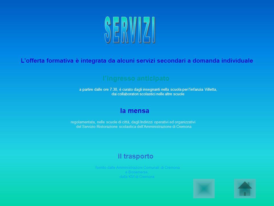 fornito dalle Amministrazioni Comunali di Cremona e Bonemerse, dalla KM di Cremona Lofferta formativa è integrata da alcuni servizi secondari a domand