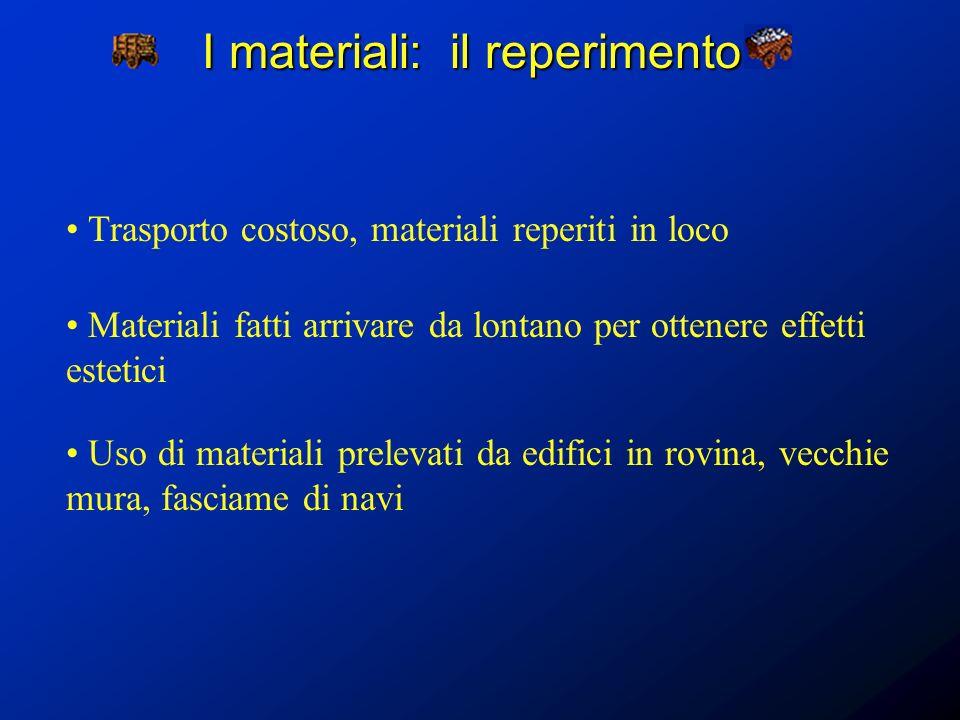 I materiali: il reperimento Trasporto costoso, materiali reperiti in loco Materiali fatti arrivare da lontano per ottenere effetti estetici Uso di mat