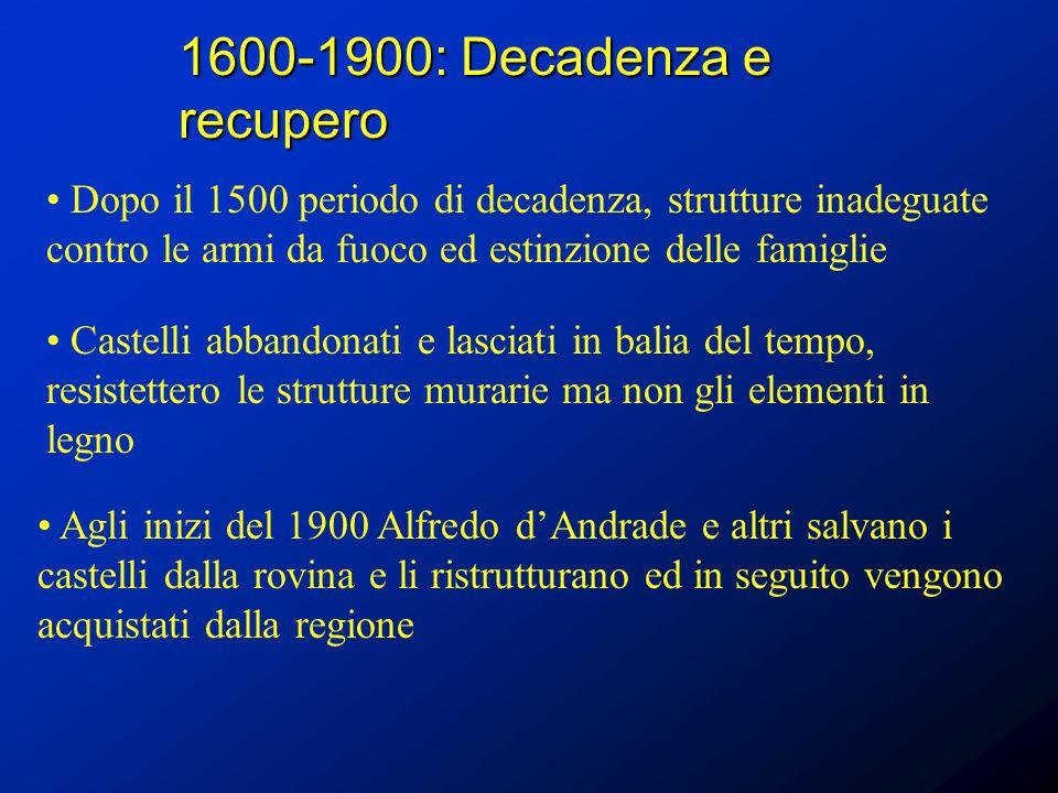 1600-1900: Decadenza e recupero Dopo il 1500 periodo di decadenza, strutture inadeguate contro le armi da fuoco ed estinzione delle famiglie Castelli