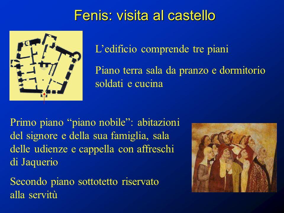 Fenis: visita al castello Ledificio comprende tre piani Piano terra sala da pranzo e dormitorio soldati e cucina Primo piano piano nobile: abitazioni
