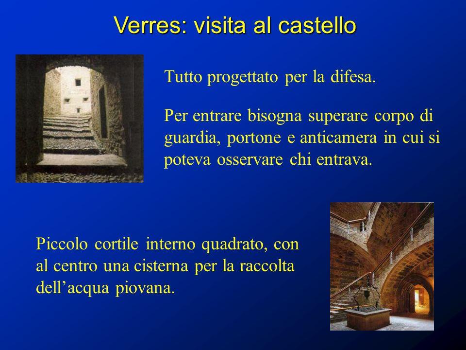 Verres: visita al castello Tutto progettato per la difesa. Per entrare bisogna superare corpo di guardia, portone e anticamera in cui si poteva osserv