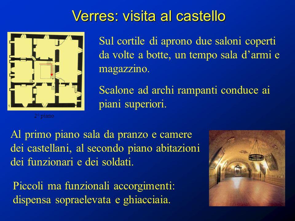 Verres: visita al castello Sul cortile di aprono due saloni coperti da volte a botte, un tempo sala darmi e magazzino. Al primo piano sala da pranzo e