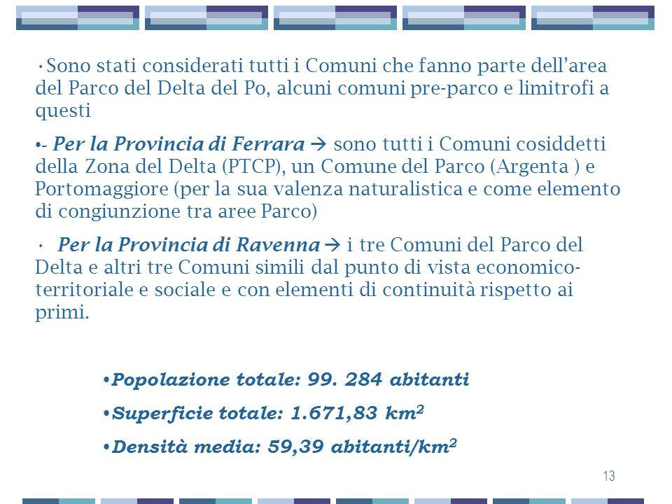 12 Area del Delta emiliano-romagnolo 13 comuni provincia di Ferrara: Argenta, Berra, Codigoro, Comacchio, Goro, Jolanda di Savoia, Lagostanto, Massa F