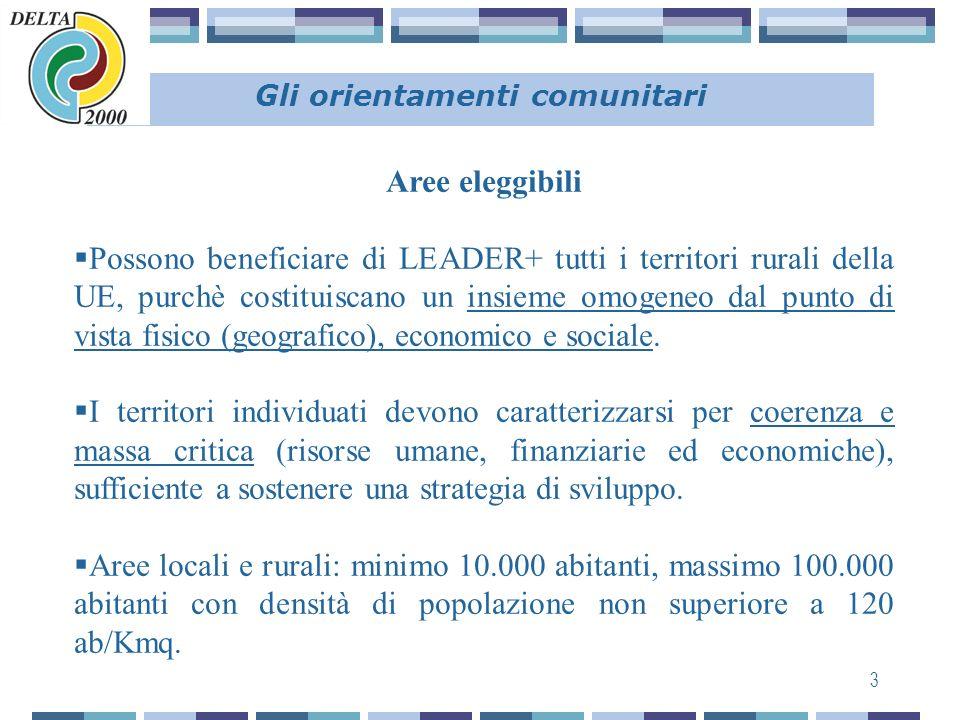 3 Gli orientamenti comunitari Aree eleggibili Possono beneficiare di LEADER+ tutti i territori rurali della UE, purchè costituiscano un insieme omogeneo dal punto di vista fisico (geografico), economico e sociale.