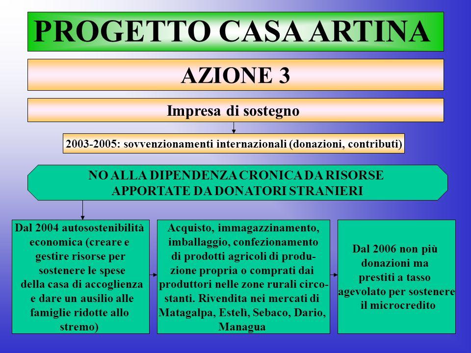 PROGETTO CASA ARTINA AZIONE 3 Impresa di sostegno 2003-2005: sovvenzionamenti internazionali (donazioni, contributi) NO ALLA DIPENDENZA CRONICA DA RIS