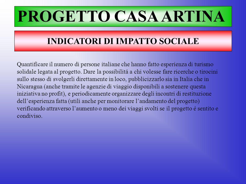 PROGETTO CASA ARTINA INDICATORI DI IMPATTO SOCIALE Quantificare il numero di persone italiane che hanno fatto esperienza di turismo solidale legata al
