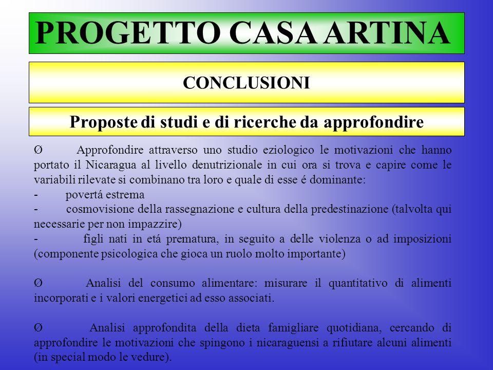 PROGETTO CASA ARTINA CONCLUSIONI Ø Approfondire attraverso uno studio eziologico le motivazioni che hanno portato il Nicaragua al livello denutriziona