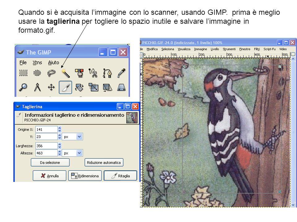Quando si è acquisita limmagine con lo scanner, usando GIMP. prima è meglio usare la taglierina per togliere lo spazio inutile e salvare limmagine in
