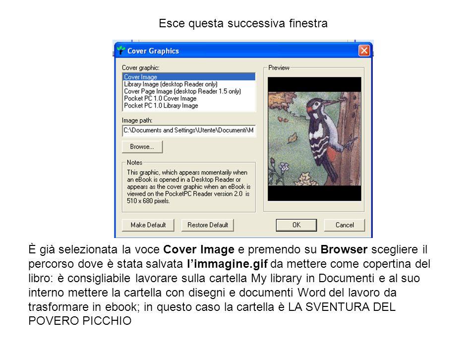 È già selezionata la voce Cover Image e premendo su Browser scegliere il percorso dove è stata salvata limmagine.gif da mettere come copertina del lib