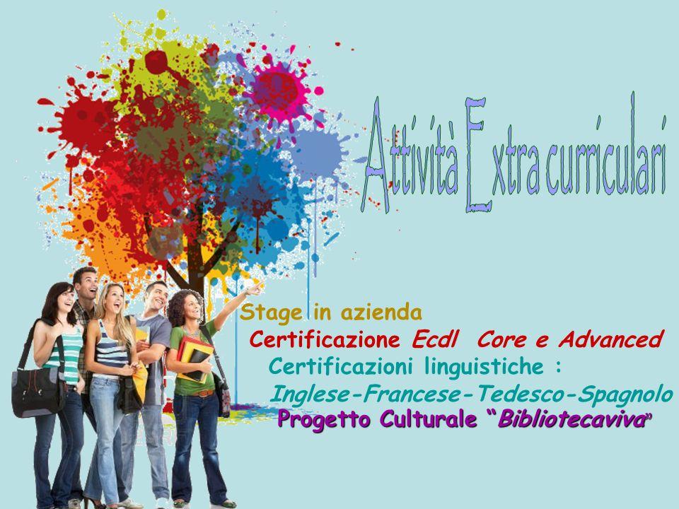 Stage in azienda Certificazione Ecdl Core e Advanced Certificazioni linguistiche : Inglese-Francese-Tedesco-Spagnolo Progetto Culturale Bibliotecaviva