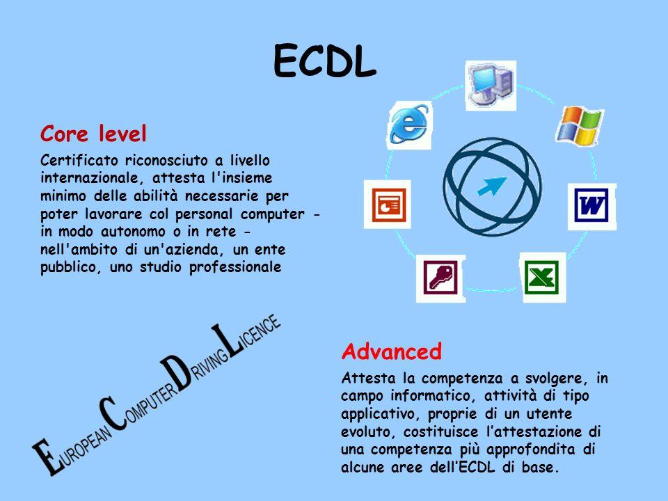 ECDL Core level Certificato riconosciuto a livello internazionale, attesta l'insieme minimo delle abilità necessarie per poter lavorare col personal c