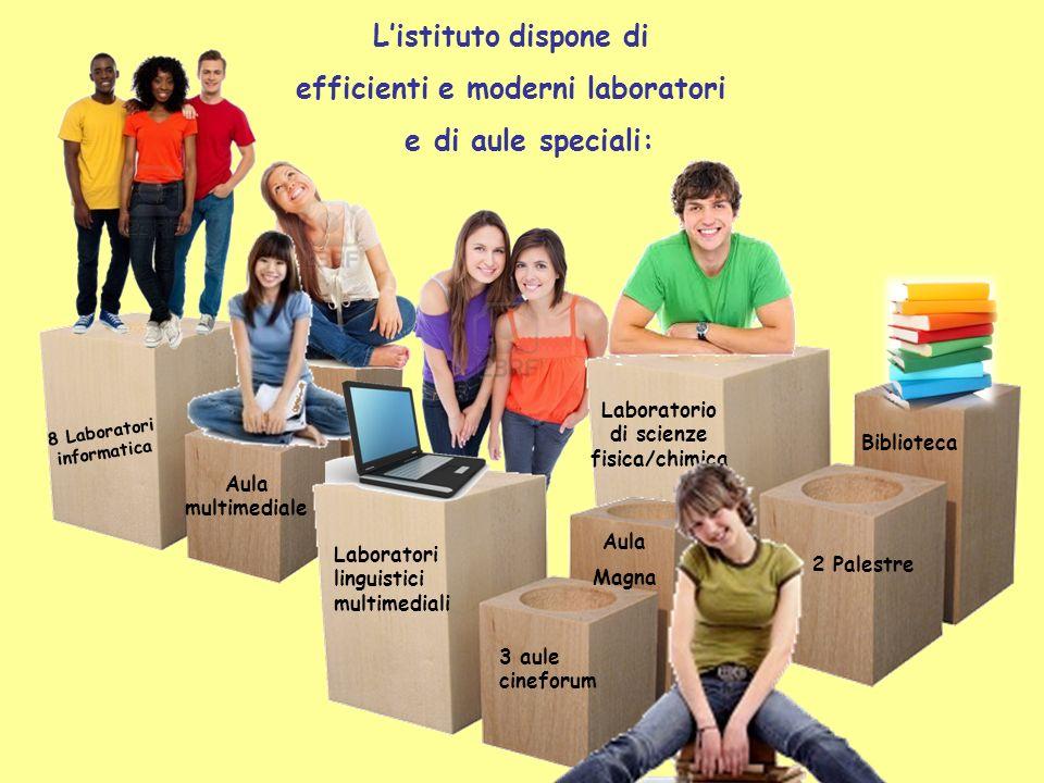 Listituto dispone di efficienti e moderni laboratori e di aule speciali: 8 Laboratori informatica Laboratori linguistici multimediali Laboratorio di s
