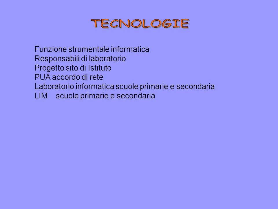 Funzione strumentale informatica Responsabili di laboratorio Progetto sito di Istituto PUA accordo di rete Laboratorio informatica scuole primarie e secondaria LIM scuole primarie e secondaria