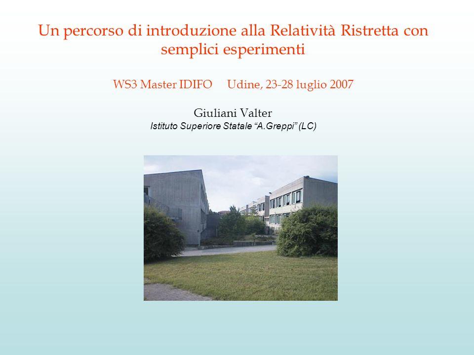 Un percorso di introduzione alla Relatività Ristretta con semplici esperimenti WS3 Master IDIFO Udine, 23-28 luglio 2007 Giuliani Valter Istituto Supe