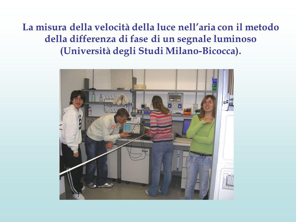 La misura della velocità della luce nellaria con il metodo della differenza di fase di un segnale luminoso (Università degli Studi Milano-Bicocca).