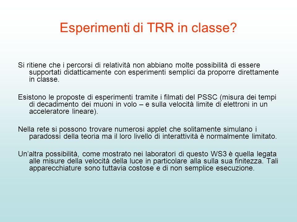 Esperimenti di TRR in classe? Si ritiene che i percorsi di relatività non abbiano molte possibilità di essere supportati didatticamente con esperiment