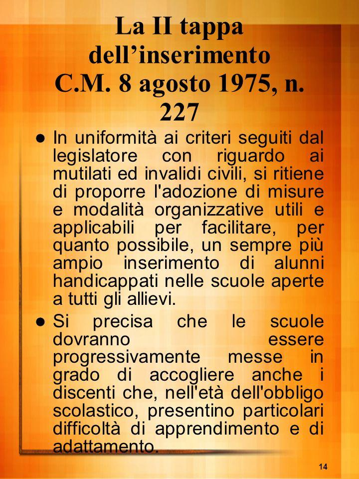 14 La II tappa dellinserimento C.M. 8 agosto 1975, n. 227 In uniformità ai criteri seguiti dal legislatore con riguardo ai mutilati ed invalidi civili