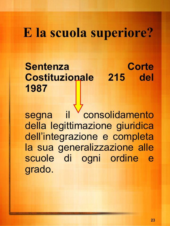 23 E la scuola superiore? Sentenza Corte Costituzionale 215 del 1987 segna il consolidamento della legittimazione giuridica dellintegrazione e complet