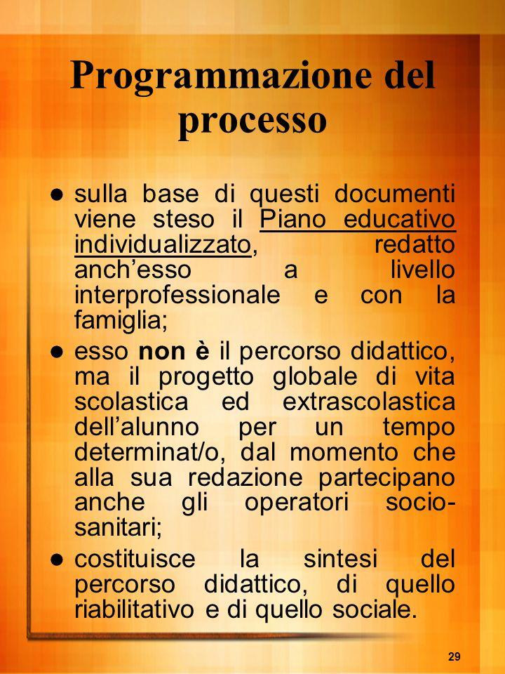 29 Programmazione del processo sulla base di questi documenti viene steso il Piano educativo individualizzato, redatto anchesso a livello interprofess