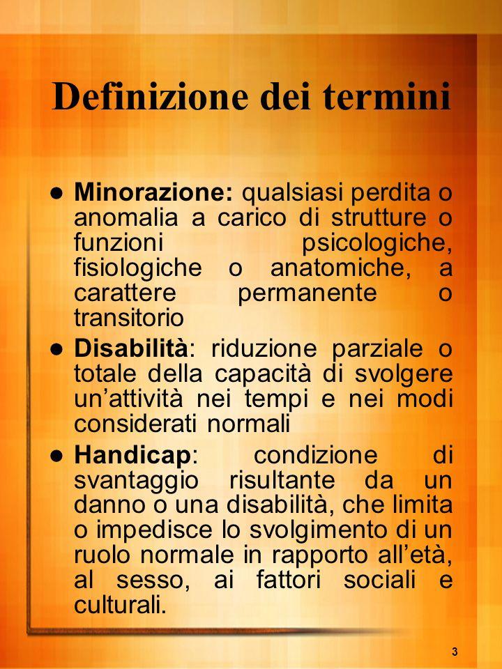 3 Definizione dei termini Minorazione: qualsiasi perdita o anomalia a carico di strutture o funzioni psicologiche, fisiologiche o anatomiche, a caratt