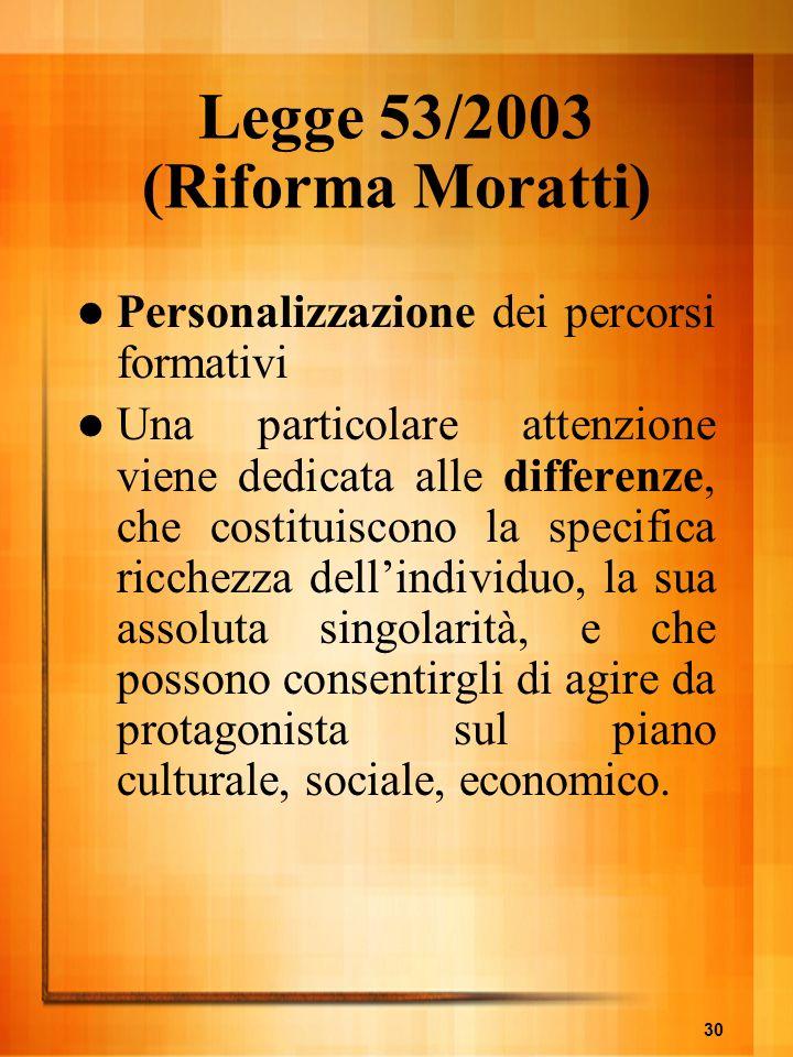 30 Legge 53/2003 (Riforma Moratti) Personalizzazione dei percorsi formativi Una particolare attenzione viene dedicata alle differenze, che costituisco