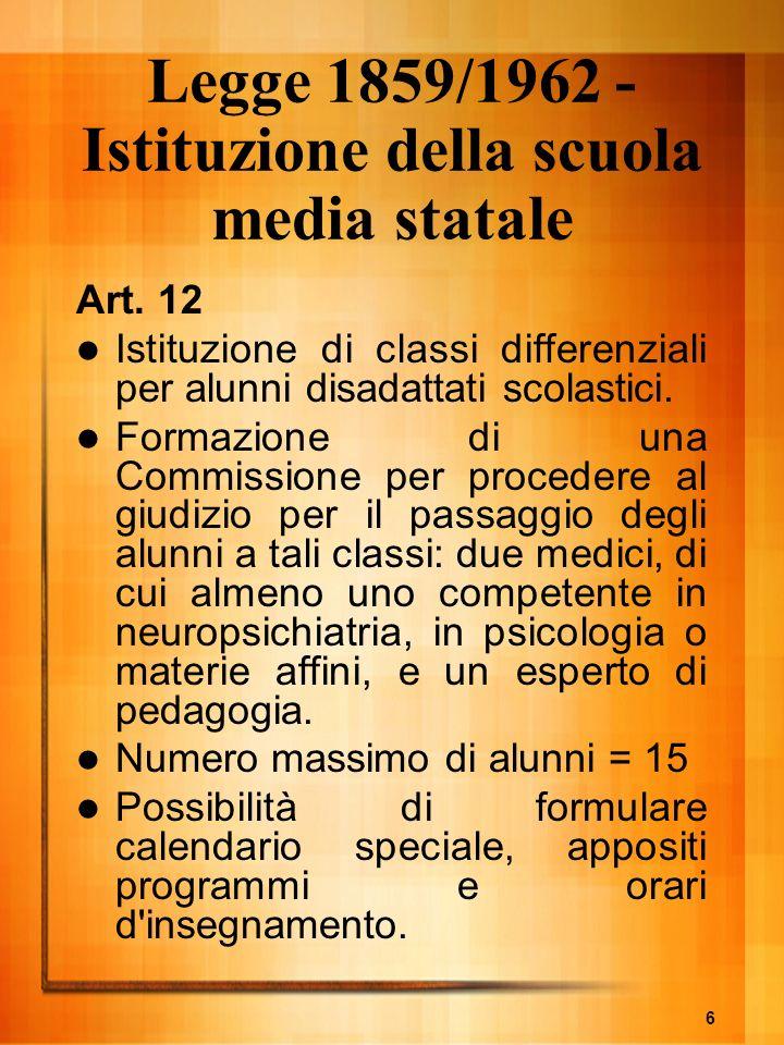 6 Legge 1859/1962 - Istituzione della scuola media statale Art. 12 Istituzione di classi differenziali per alunni disadattati scolastici. Formazione d