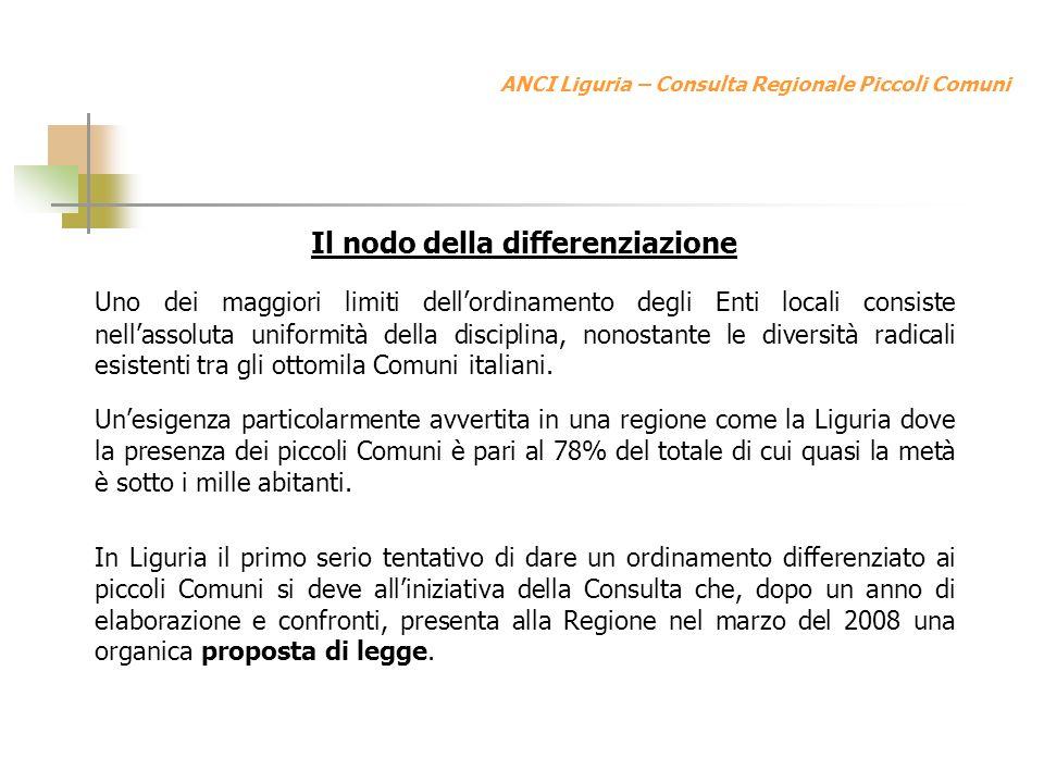 ANCI Liguria – Consulta Regionale Piccoli Comuni Il nodo della differenziazione Uno dei maggiori limiti dellordinamento degli Enti locali consiste nellassoluta uniformità della disciplina, nonostante le diversità radicali esistenti tra gli ottomila Comuni italiani.