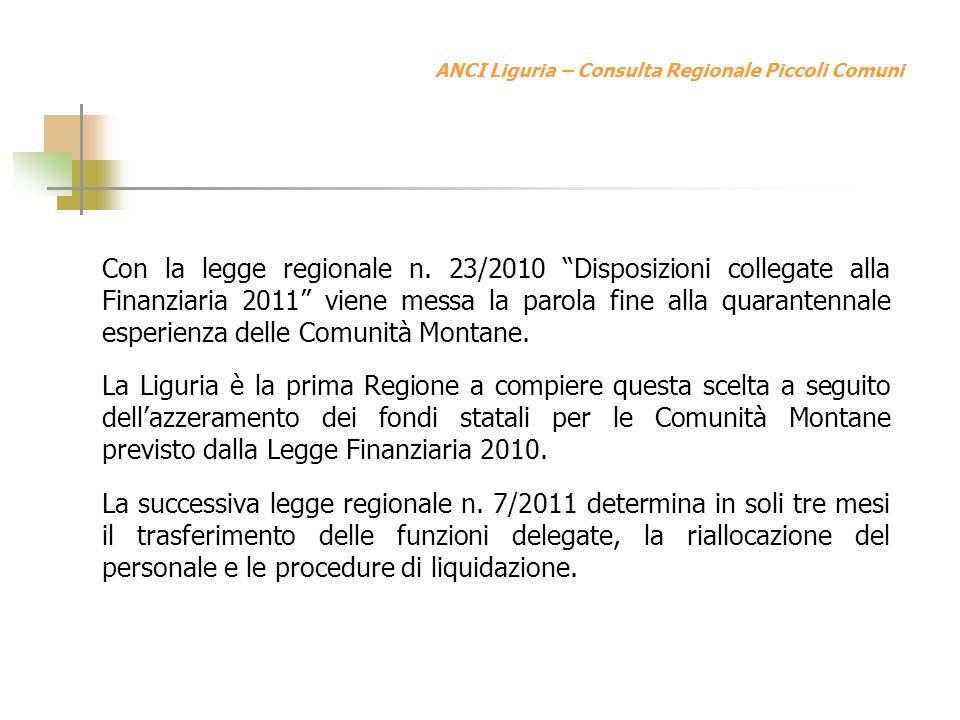 ANCI Liguria – Consulta Regionale Piccoli Comuni Con la legge regionale n.
