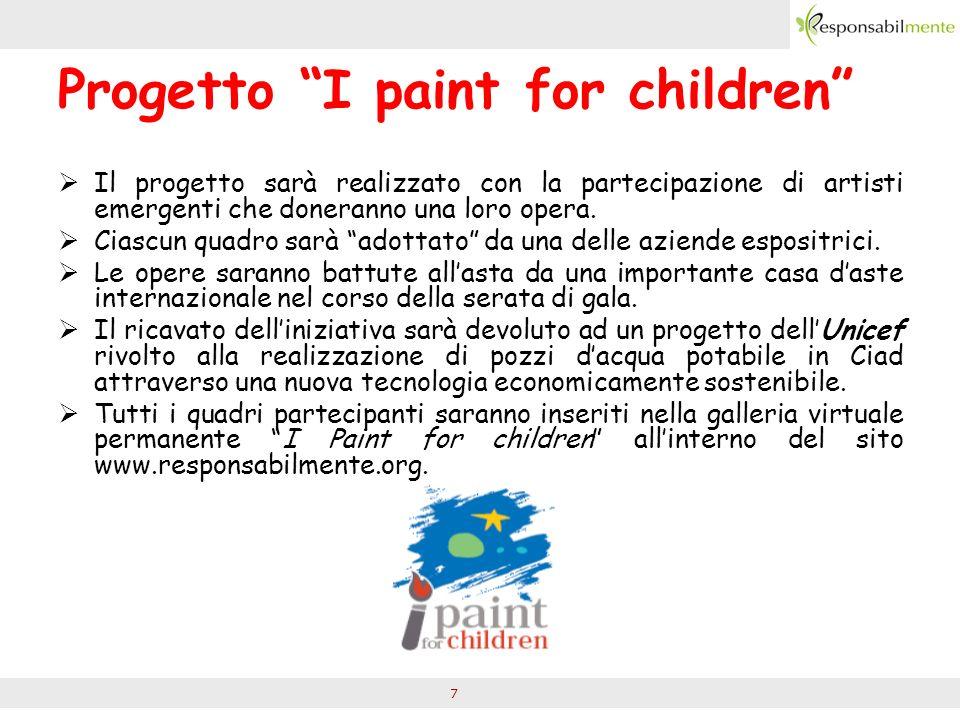 7 Progetto I paint for children Il progetto sarà realizzato con la partecipazione di artisti emergenti che doneranno una loro opera.