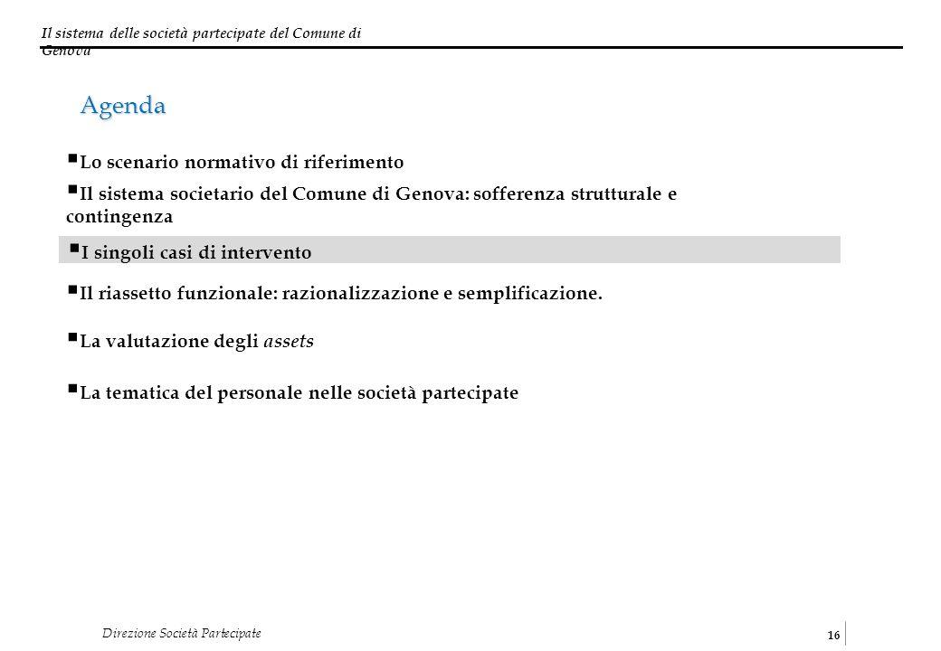 Il sistema delle società partecipate del Comune di Genova 16 Direzione Società Partecipate I singoli casi di intervento Il sistema societario del Comu