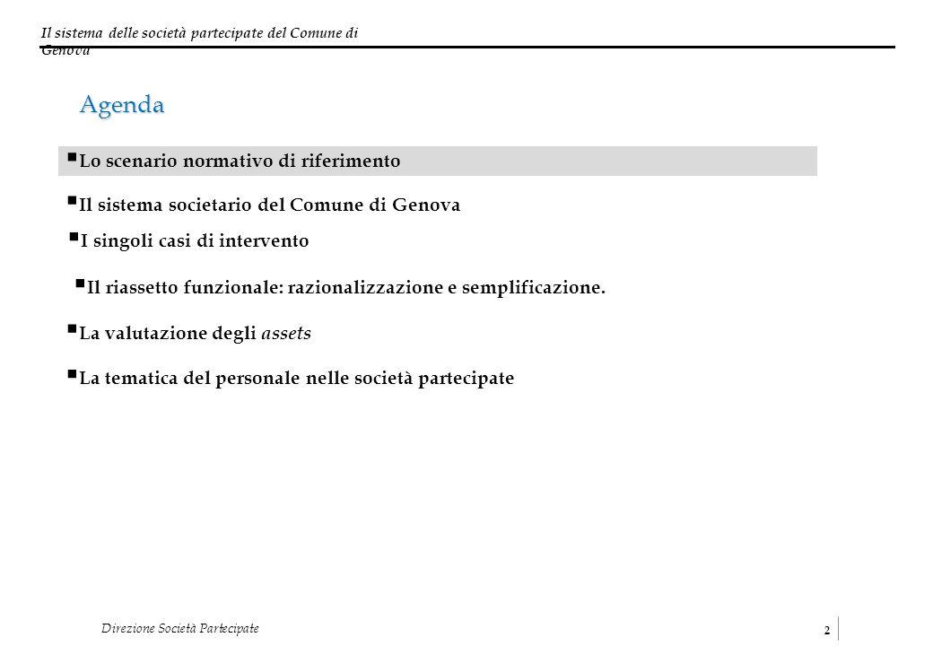 Il sistema delle società partecipate del Comune di Genova 2 Direzione Società Partecipate I singoli casi di intervento Il sistema societario del Comun
