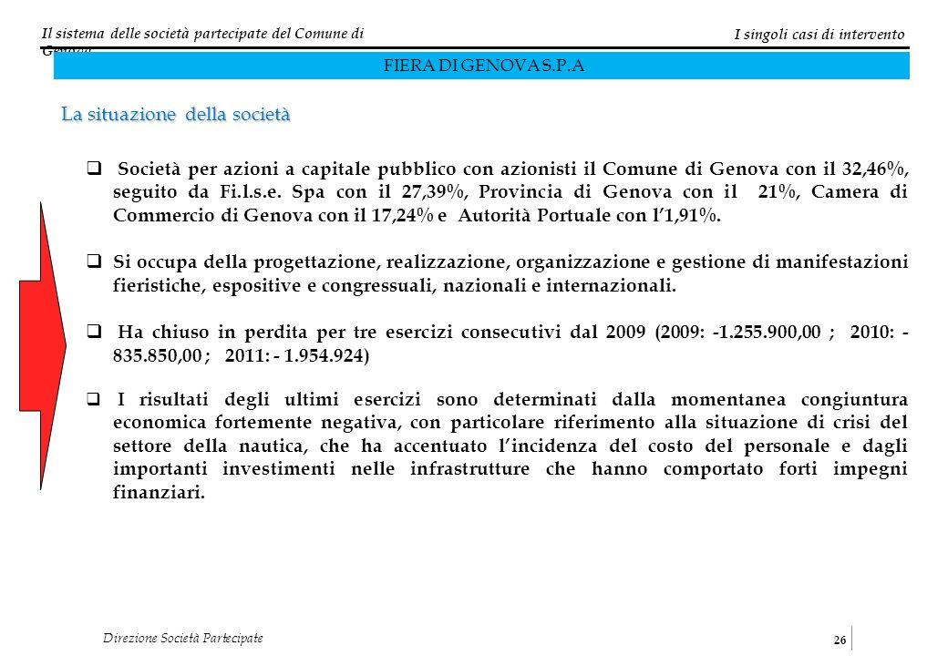 Il sistema delle società partecipate del Comune di Genova 26 Direzione Società Partecipate Società per azioni a capitale pubblico con azionisti il Comune di Genova con il 32,46%, seguito da Fi.l.s.e.