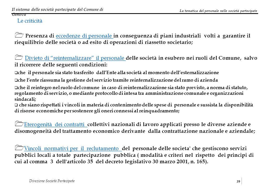 Il sistema delle società partecipate del Comune di Genova 39 Direzione Società Partecipate Le criticità eccedenze di personale Presenza di eccedenze d