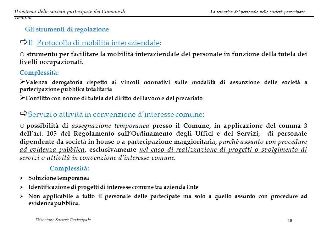 Il sistema delle società partecipate del Comune di Genova 40 Direzione Società Partecipate La tematica del personale nelle società partecipate Gli str