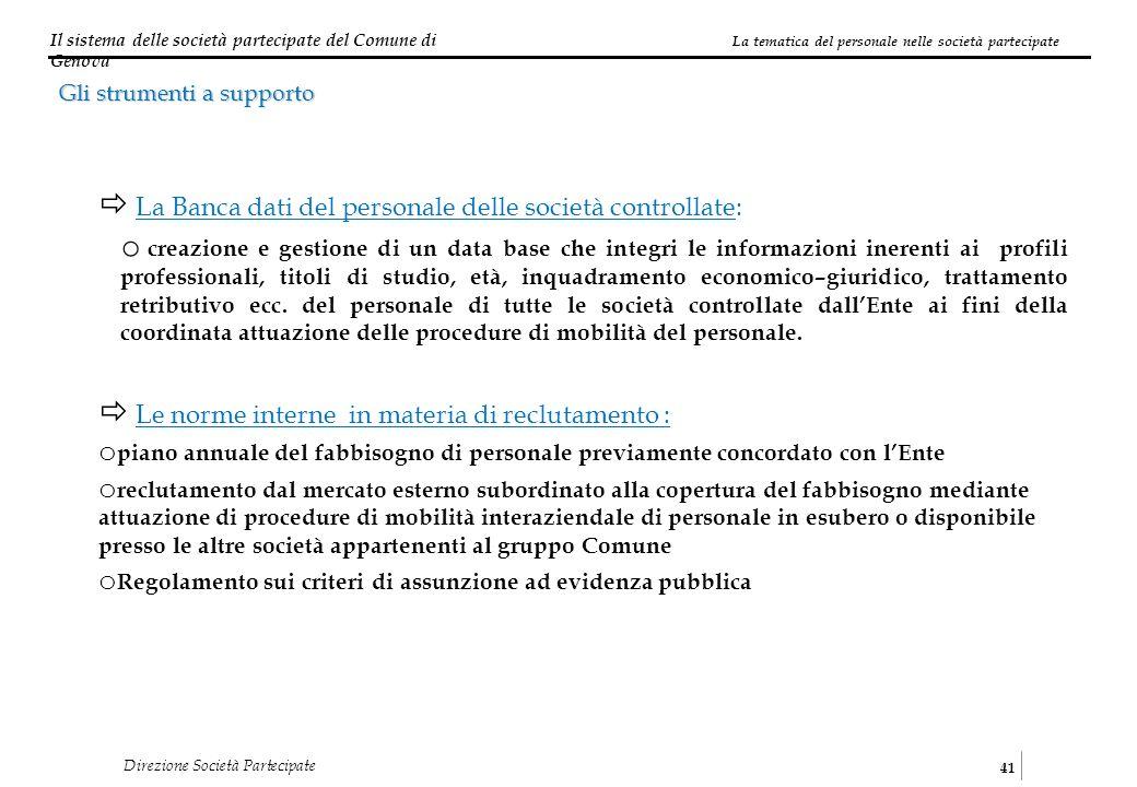 Il sistema delle società partecipate del Comune di Genova 41 Direzione Società Partecipate La tematica del personale nelle società partecipate Gli str