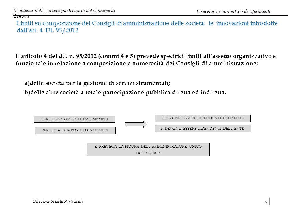 Il sistema delle società partecipate del Comune di Genova 5 Direzione Società Partecipate Limiti su composizione dei Consigli di amministrazione delle società: le innovazioni introdotte dallart.