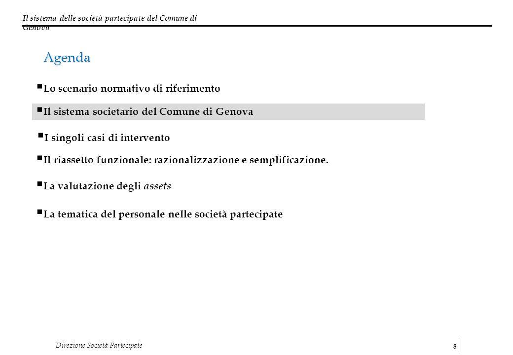 Il sistema delle società partecipate del Comune di Genova 8 Direzione Società Partecipate I singoli casi di intervento Il sistema societario del Comun