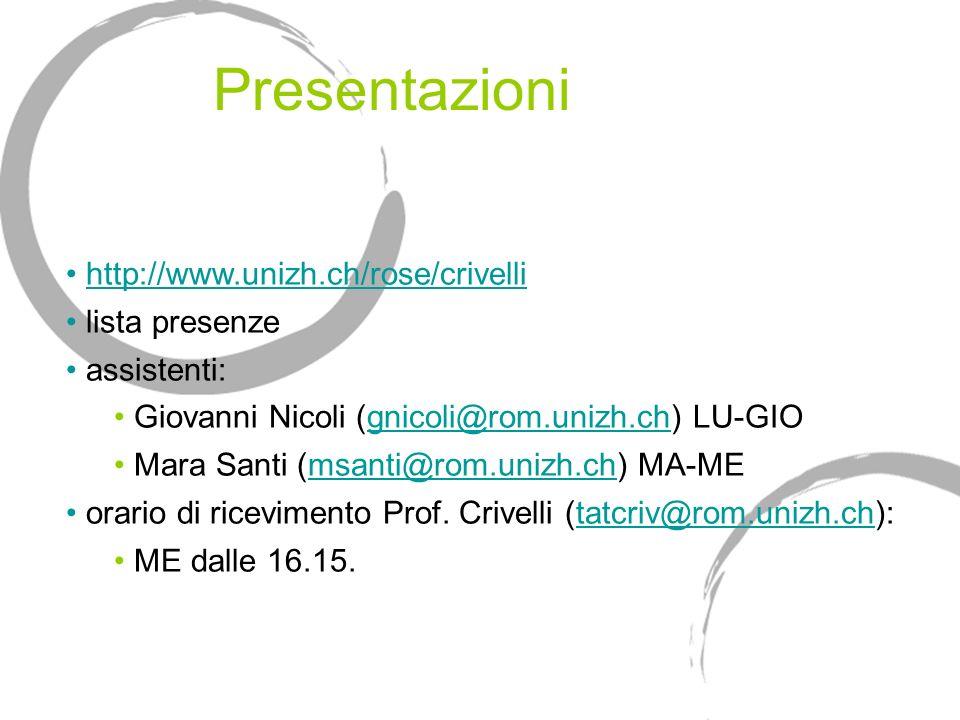 Presentazioni http://www.unizh.ch/rose/crivelli lista presenze assistenti: Giovanni Nicoli (gnicoli@rom.unizh.ch) LU-GIOgnicoli@rom.unizh.ch Mara Sant