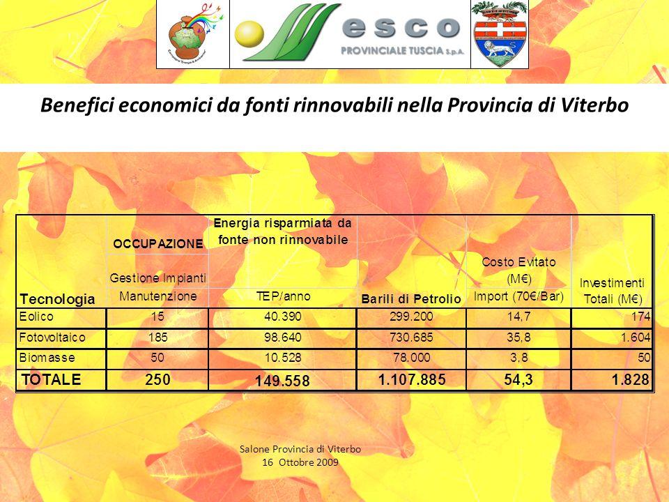 Benefici economici da fonti rinnovabili nella Provincia di Viterbo Salone Provincia di Viterbo 16 Ottobre 2009