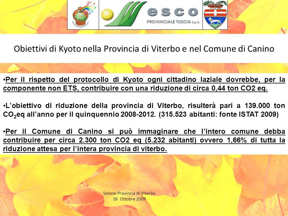 Obiettivi di Kyoto nella Provincia di Viterbo e nel Comune di Canino Salone Provincia di Viterbo 16 Ottobre 2009 Per il rispetto del protocollo di Kyoto ogni cittadino laziale dovrebbe, per la componente non ETS, contribuire con una riduzione di circa 0,44 ton CO2 eq.