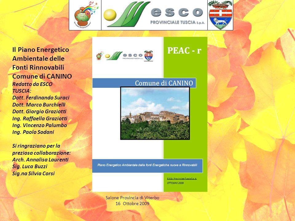 Salone Provincia di Viterbo 16 Ottobre 2009 Il Piano Energetico Ambientale delle Fonti Rinnovabili Comune di CANINO Redatto da ESCO TUSCIA: Dott.