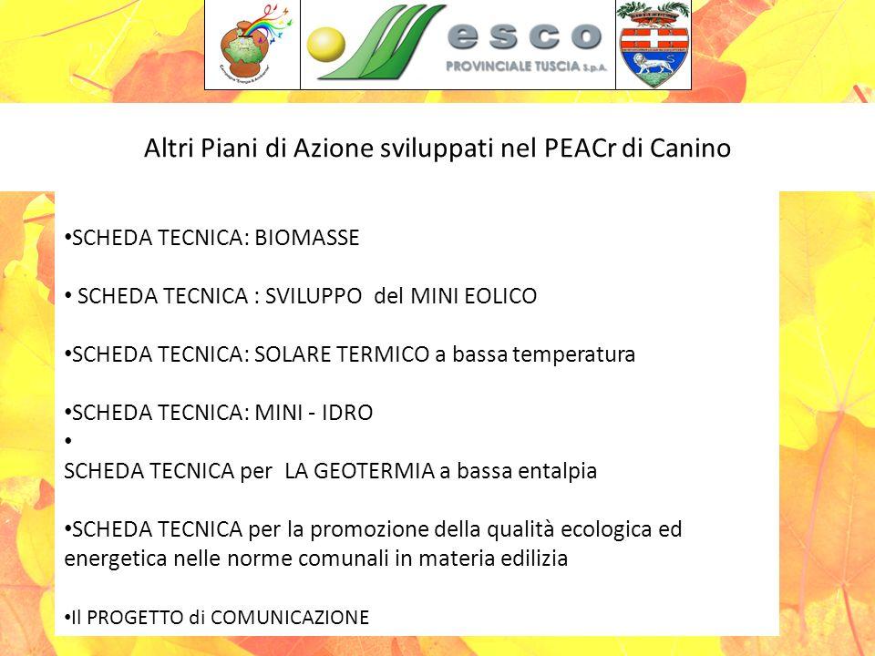 Altri Piani di Azione sviluppati nel PEACr di Canino Salone Provincia di Viterbo 16 Ottobre 2009 SCHEDA TECNICA: BIOMASSE SCHEDA TECNICA : SVILUPPO del MINI EOLICO SCHEDA TECNICA: SOLARE TERMICO a bassa temperatura SCHEDA TECNICA: MINI - IDRO SCHEDA TECNICA per LA GEOTERMIA a bassa entalpia SCHEDA TECNICA per la promozione della qualità ecologica ed energetica nelle norme comunali in materia edilizia Il PROGETTO di COMUNICAZIONE
