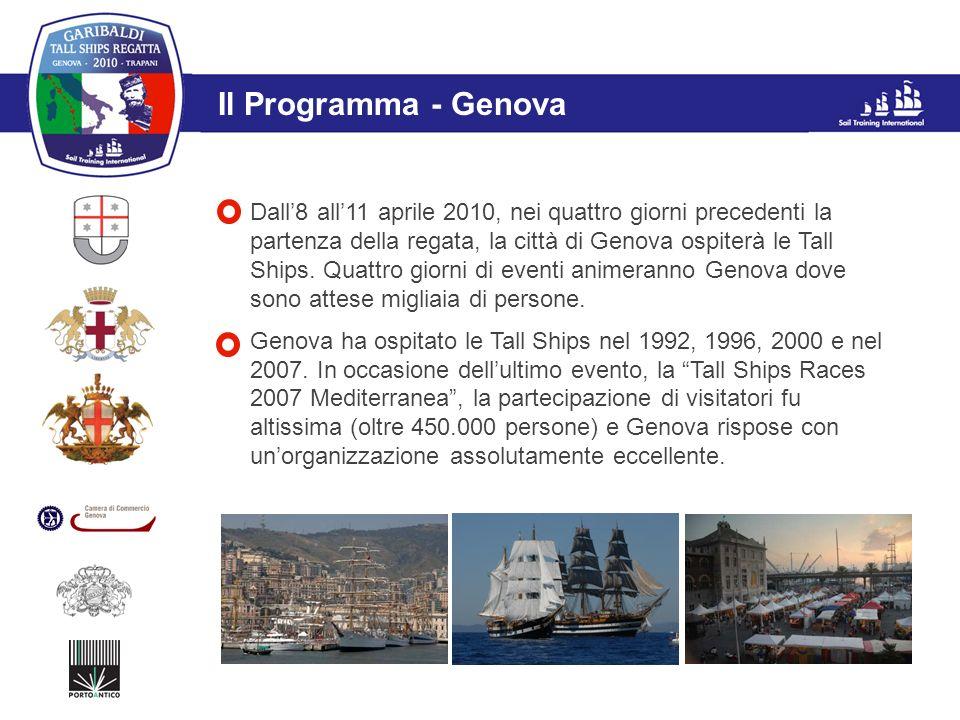 L'evento Il Programma - Genova Dall8 all11 aprile 2010, nei quattro giorni precedenti la partenza della regata, la città di Genova ospiterà le Tall Sh