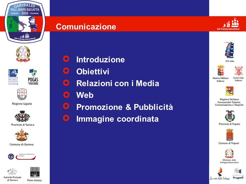 Comunicazione Introduzione Obiettivi Relazioni con i Media Web Promozione & Pubblicità Immagine coordinata