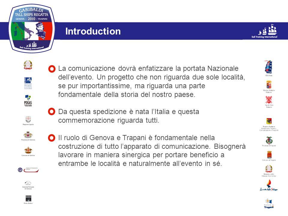 L'evento Introduction La comunicazione dovrà enfatizzare la portata Nazionale dellevento. Un progetto che non riguarda due sole località, se pur impor