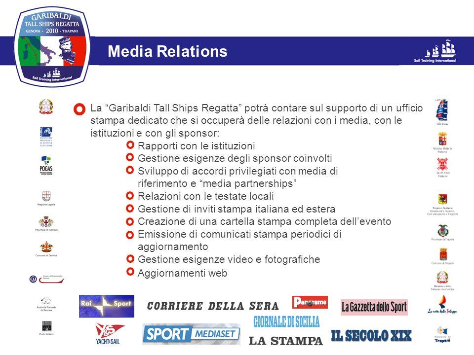 La Garibaldi Tall Ships Regatta potrà contare sul supporto di un ufficio stampa dedicato che si occuperà delle relazioni con i media, con le istituzio