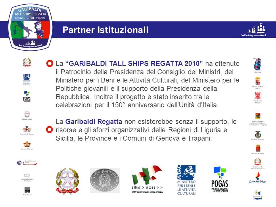L'evento Partner Istituzionali La GARIBALDI TALL SHIPS REGATTA 2010 ha ottenuto il Patrocinio della Presidenza del Consiglio dei Ministri, del Ministe