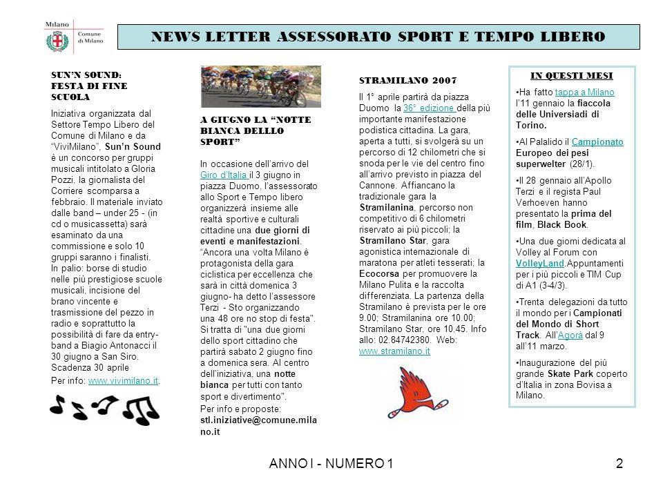ANNO I - NUMERO 12 SUNN SOUND: FESTA DI FINE SCUOLA Iniziativa organizzata dal Settore Tempo Libero del Comune di Milano e da ViviMilano, Sunn Sound è
