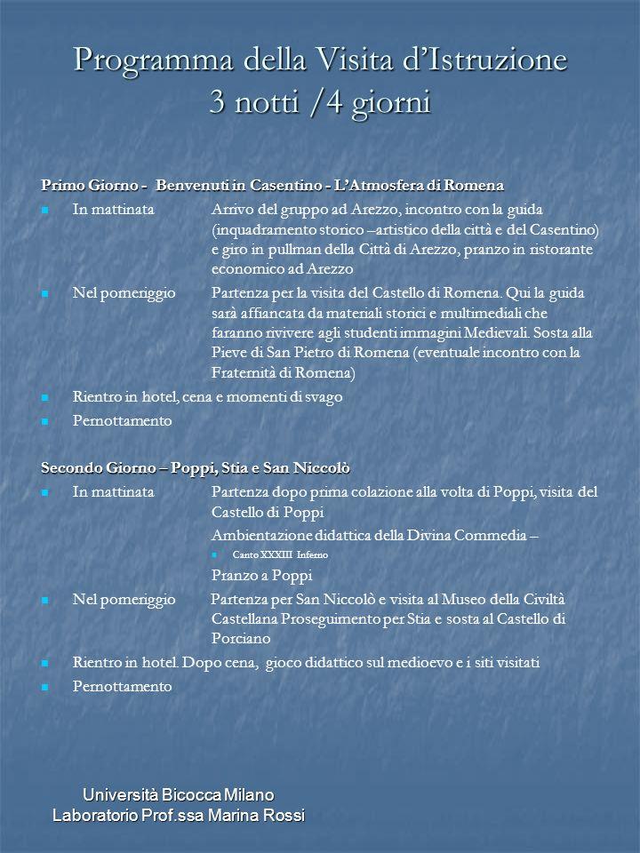 Università Bicocca Milano Laboratorio Prof.ssa Marina Rossi Programma della Visita dIstruzione 3 notti /4 giorni Primo Giorno - Benvenuti in Casentino